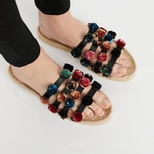 Free People Pom Summer Sandal Multi Color Strappy